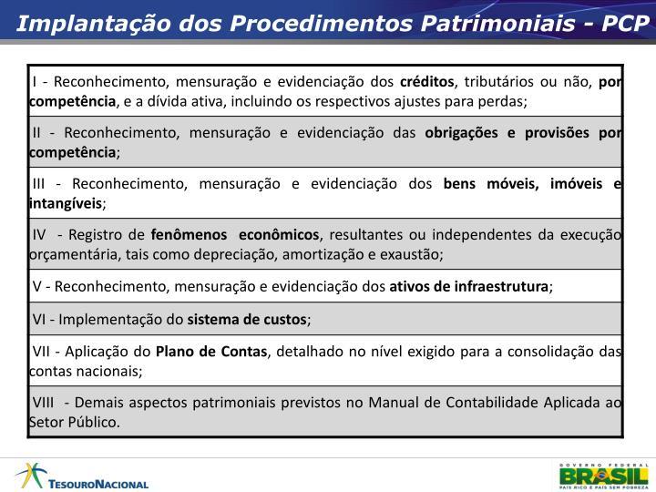 Implantação dos Procedimentos Patrimoniais - PCP