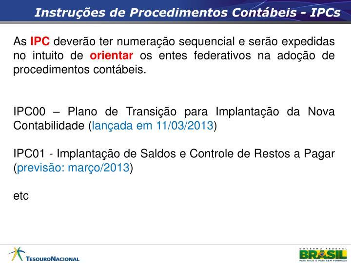 Instruções de Procedimentos Contábeis -