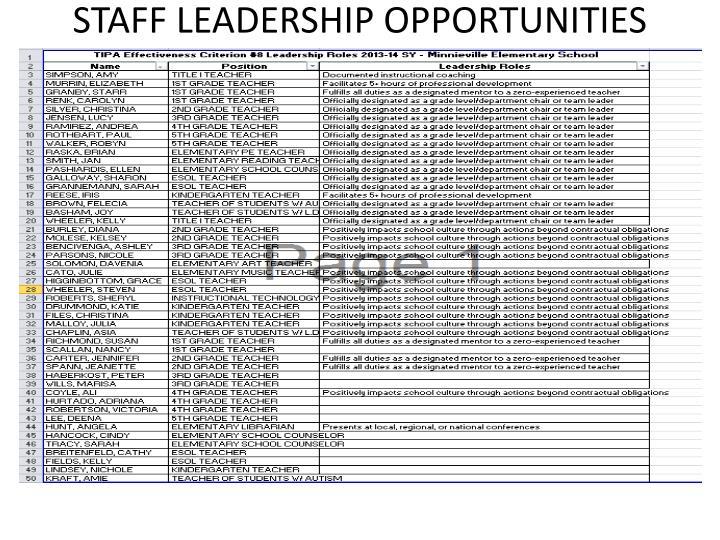 STAFF LEADERSHIP OPPORTUNITIES