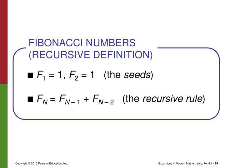 FIBONACCI NUMBERS (RECURSIVE DEFINITION)