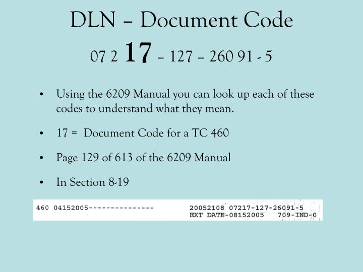 DLN – Document Code