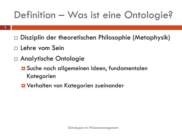 Definition was ist eine ontologie