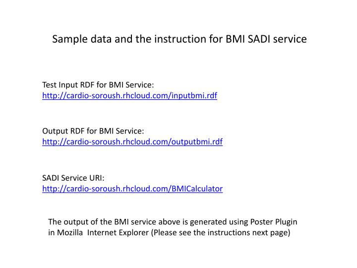 Sample data and the instruction for BMI SADI service