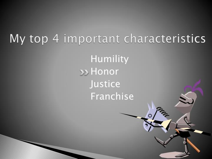 My top 4 important characteristics