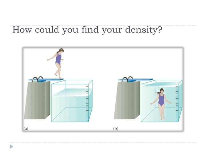 How could you find your density?