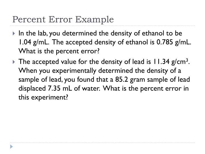 Percent Error Example