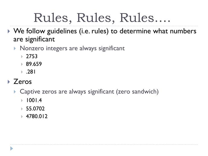 Rules, Rules, Rules….