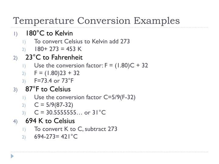 Temperature Conversion Examples