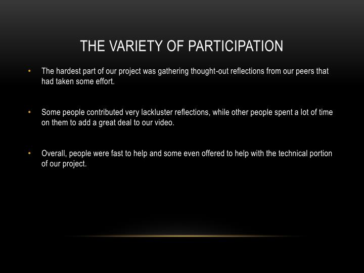 The variety of Participation