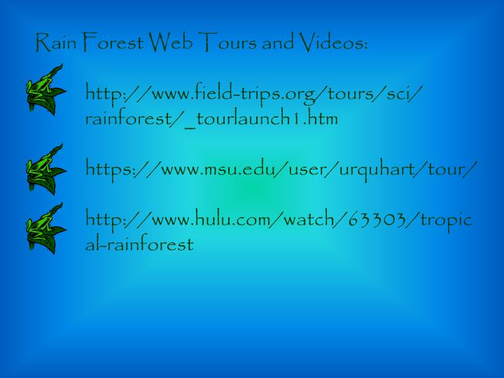 Rain Forest Web Tours and Videos: