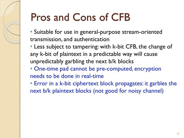 Pros and Cons of CFB