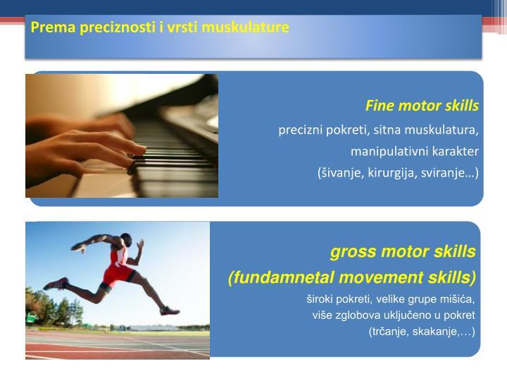 Prema preciznosti i vrsti muskulature