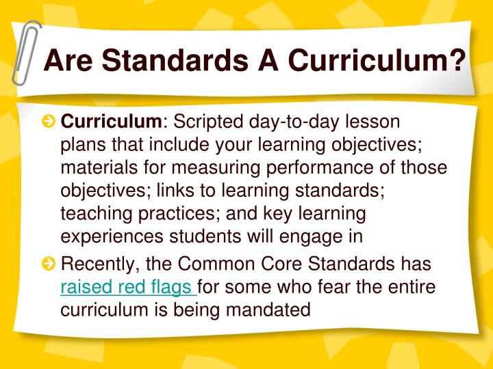 Are Standards A Curriculum?