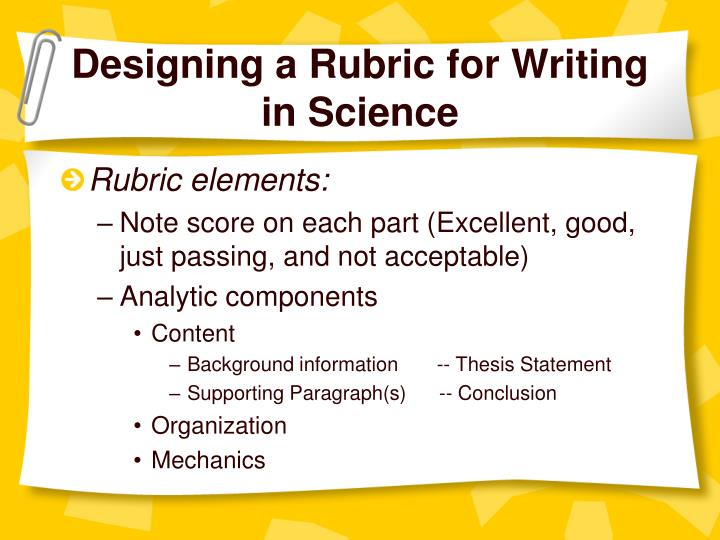 Designing a Rubric for Writing in Science