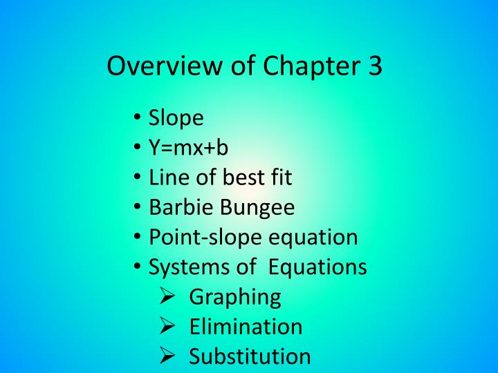 overview of chapter 3 n.