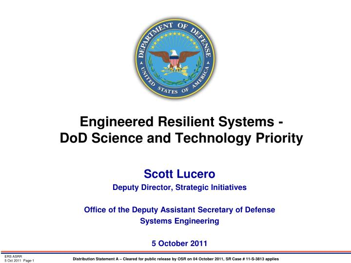 engineered resilient systems dod science and technology priority n.