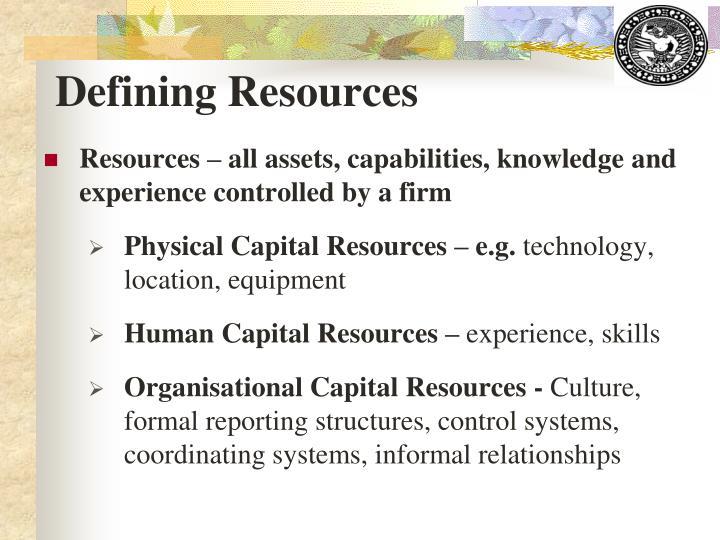 Defining Resources