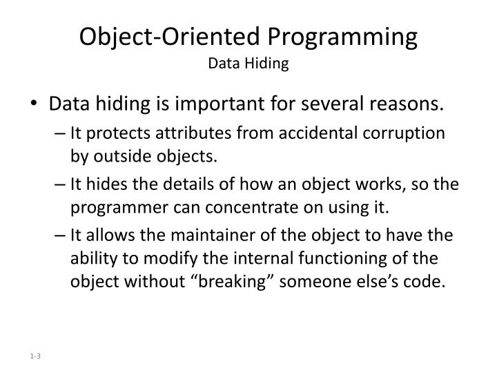 Object oriented programming data hiding