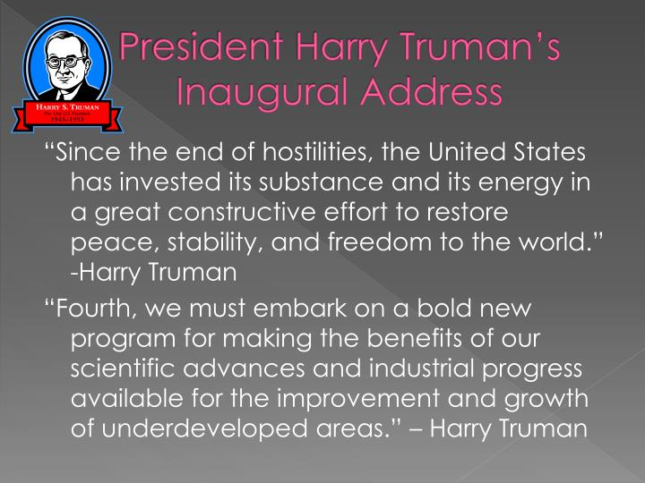 President Harry Truman's Inaugural Address