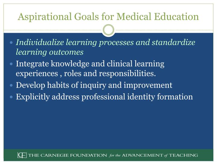 medical field educational goals The positions or policies of the department of education no official endorsement by the  writing goals and objectives a guide for grantees of the smaller learning .