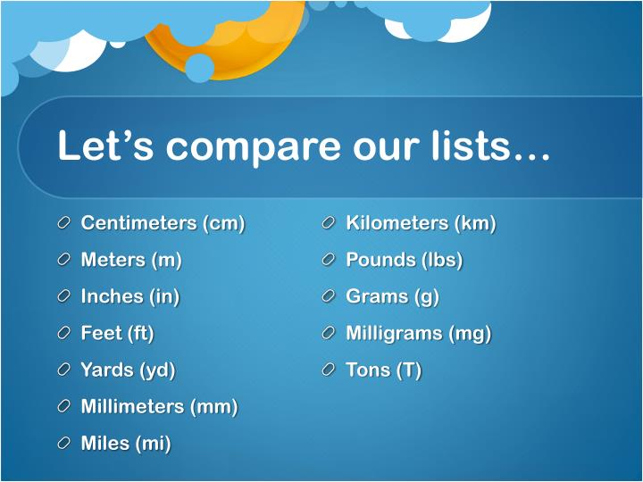 Let's compare our lists…