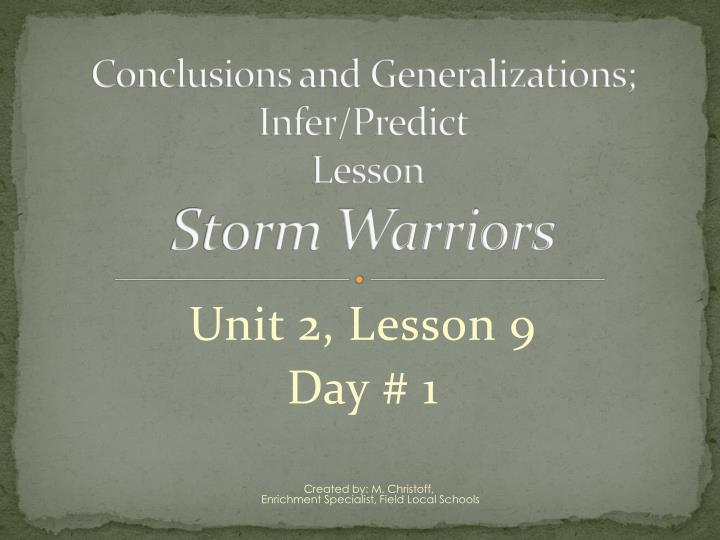 conclusions and generalizations infer predict lesson storm warriors n.