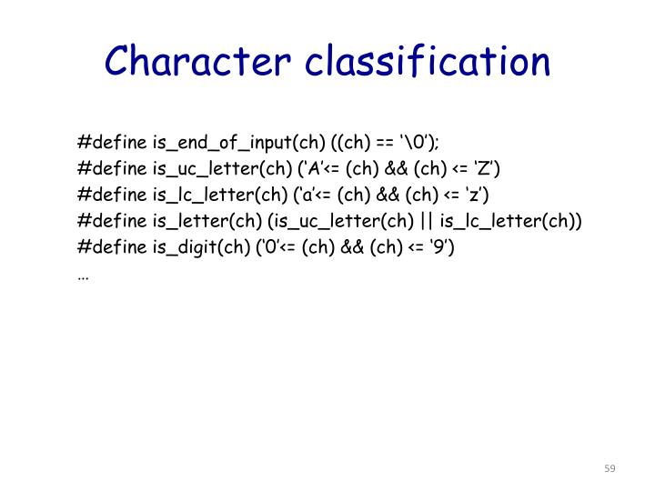 Character classification