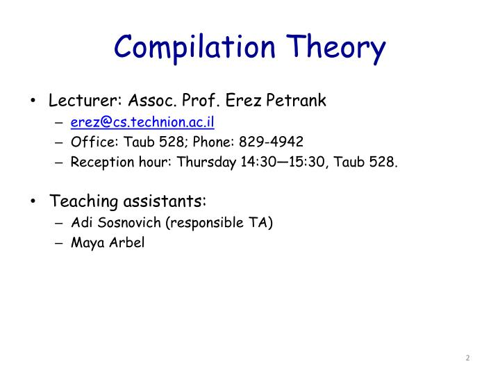 Compilation theory