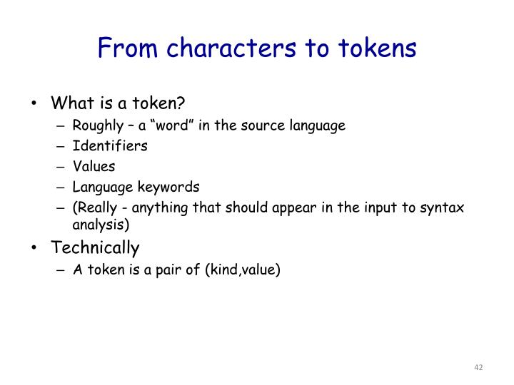 From characters to tokens
