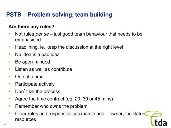 problem solving team building pstb