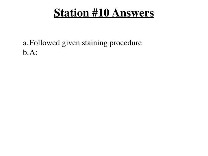 Station #10 Answers