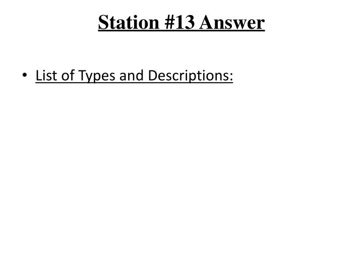 Station #13 Answer