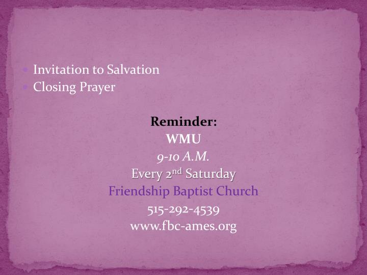 Invitation to Salvation