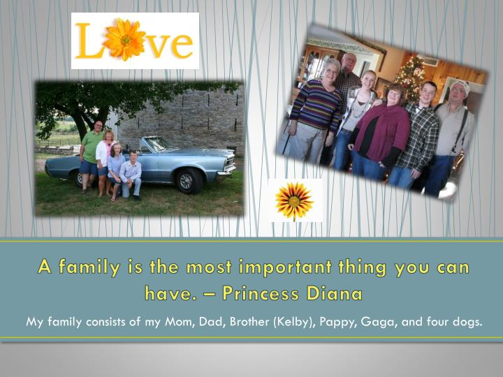 A family is the most important thing you can have. – Princess Diana
