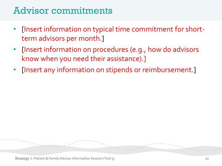 Advisor commitments
