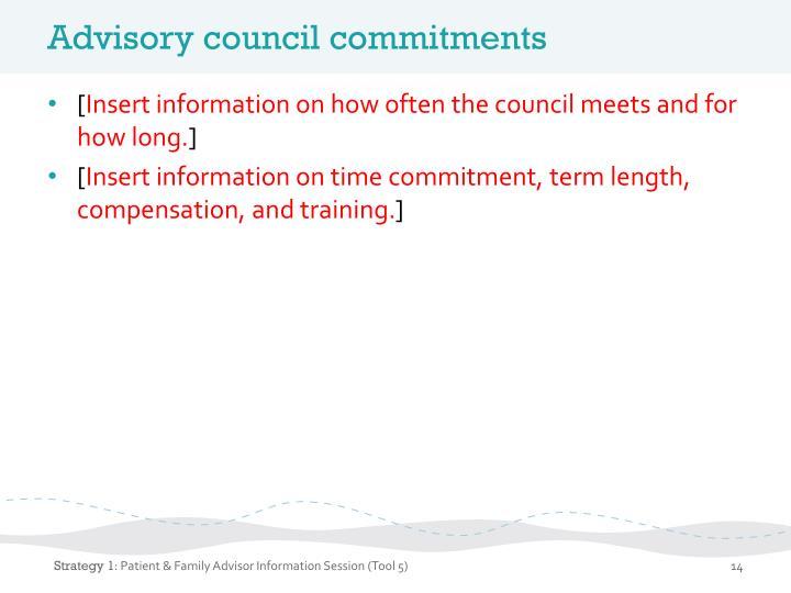 Advisory council commitments