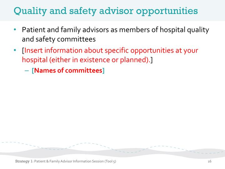 Quality and safety advisor opportunities