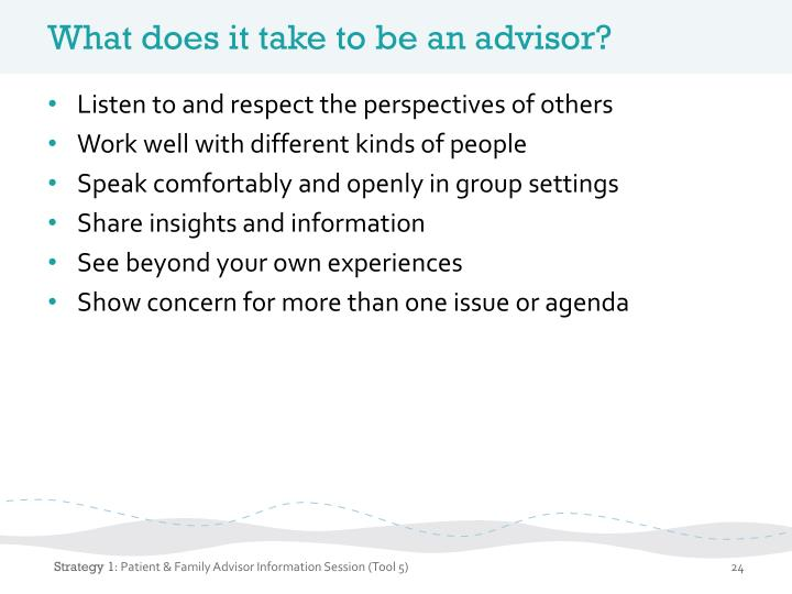 What does it take to be an advisor?
