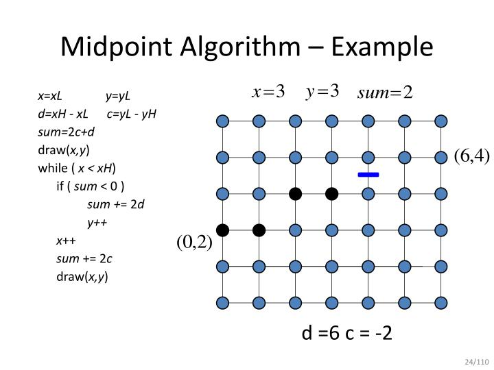 Breshman Line Drawing Algorithm Example : Ppt mid point line drawing algorithm powerpoint