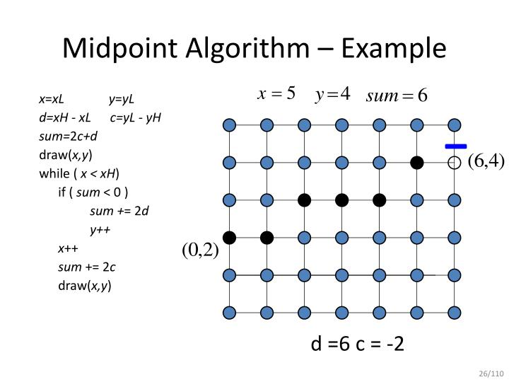 Line Drawing Algorithm With An Example : Ppt mid point line drawing algorithm powerpoint