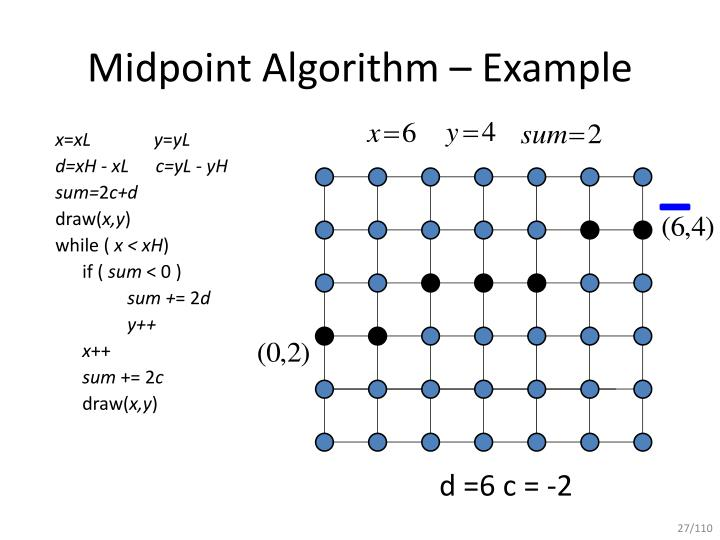 Bresenham Line Drawing Algorithm Example : Ppt mid point line drawing algorithm powerpoint