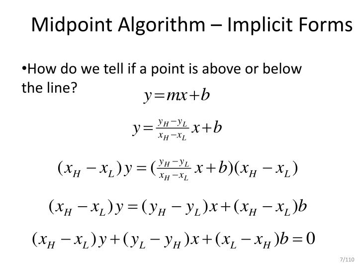 Midpoint Line Drawing Algorithm In Computer Graphics : Ppt mid point line drawing algorithm powerpoint