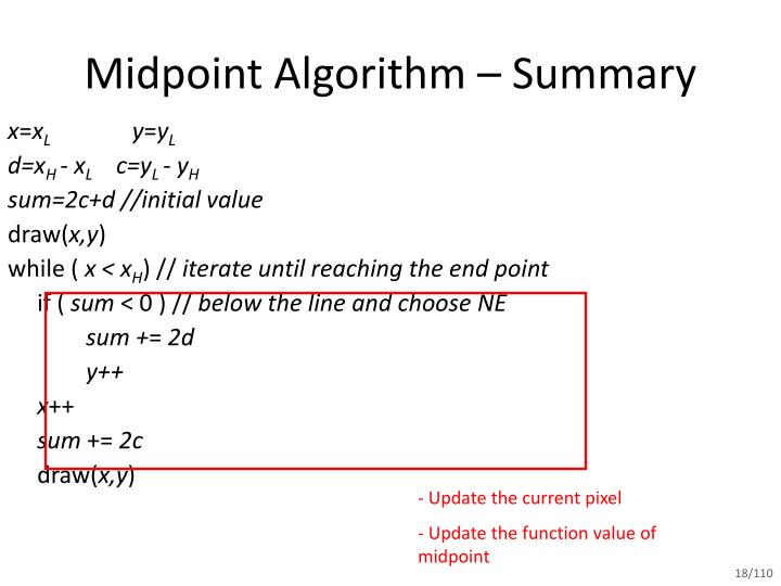 Midpoint Line Drawing Algorithm In C : Ppt mid point line drawing algorithm powerpoint