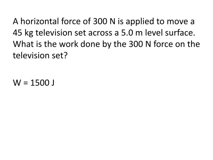 A horizontal force of