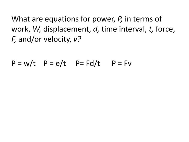 What are equations