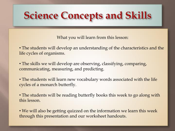 science concepts and skills n.