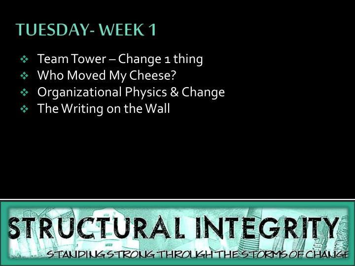 team tower change 1 thing who moved my cheese organizational physics change the writing on the wall n.