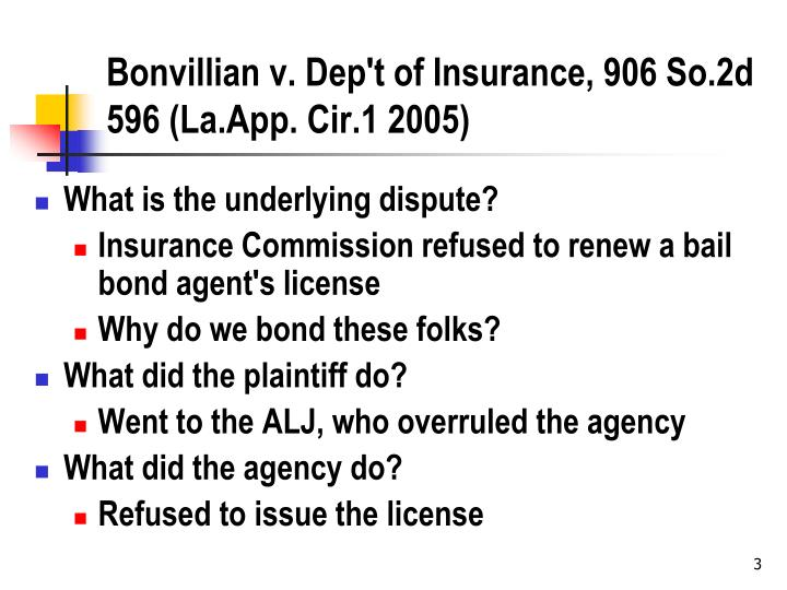 Bonvillian v dep t of insurance 906 so 2d 596 la app cir 1 2005