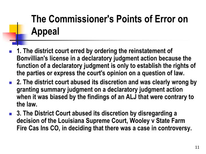 The Commissioner's Points of Error on Appeal