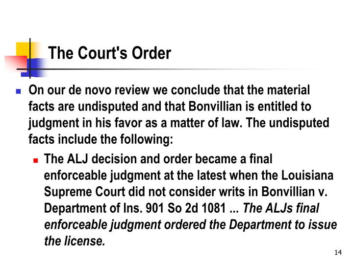 The Court's Order